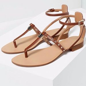 Zara Trafaluc Brown Studded Sandals